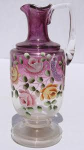 pitcher of roses vintage bohemian enamel glass ewer cruet pitcher roses on purple