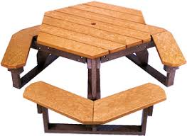 walk through hexagon picnic table recycled plastic belson