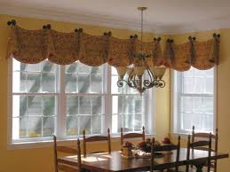 Valances For Bay Windows Inspiration Kitchen Bay Window Curtain Ideas Dining Table The Middle Room