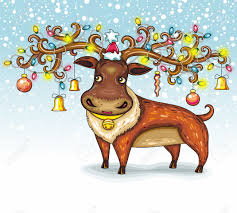 christmas deer funny character animal royalty free cliparts