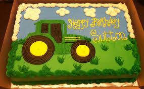 plain tractor sheet cake for john deere birthday theme birthday