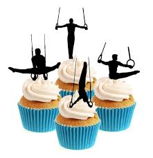 gymnastics cake toppers gymnast parallel rings silhouette collection cake toppers