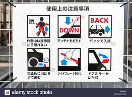japan information sign on how to use multi storey car parking