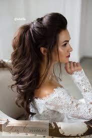 bridal hair for oval faces half up half down long bridal hairstyle via elstile long bridal