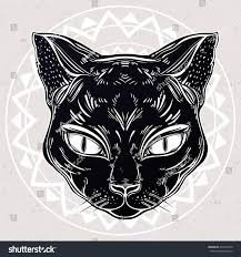 black cat halloween background black cat head portrait ideal halloween stock vector 479220316