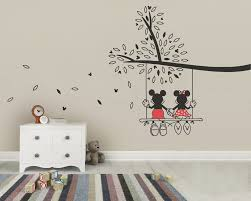 mickey mouse minnie tree swing wall sticker wall art decal zoom
