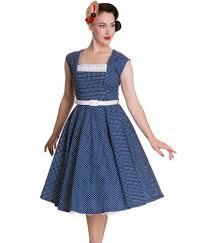 blue and white tea dress available from 1950s glam vintage