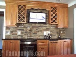 faux brick backsplash in kitchen 30 faux brick and rock panel ideas pictures