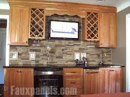 faux brick backsplash in kitchen 30 faux brick and rock panel ideas pictures