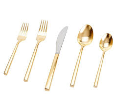 luna brushed gold cutlery set pottery barn au