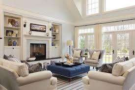 Striped Area Rug With Blue Ottoman Coffee Table For Elegant Family - Family room rug
