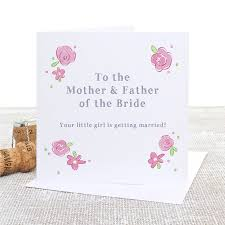 Groom To Bride Card Parents Of The Bride And Groom Floral Wedding Day Cards By Slice