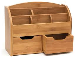 Wood Desk Accessories And Organizers Bamboo Space Saving Desk Organizer Contemporary Desk