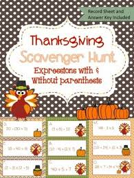 simplifying expressions thanksgiving scavenger hunt early