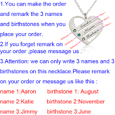 Name And Birthstone Necklace Aliexpress Com Buy Love Pendant Heart Necklace With Birthstones