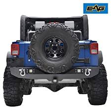 led lights for jeep wrangler jk amazon com eag rear bumper with two square led lights 2 hitch