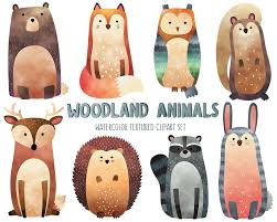 Woodland Animal Nursery Decor by Watercolor Woodland Animals Clipart Cute Animal Clip Art Set