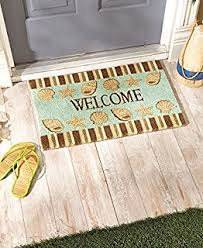 Summer Doormats Amazon Com Welcome Seashell Theme Doormat Wooden Look Summer