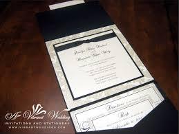 Invitation Pocket Black And White Traditional Wedding Invitation U2013 7 7 U2033 Pocket Fold
