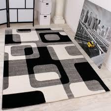 designer teppich retro muster schwarz weiss design teppiche