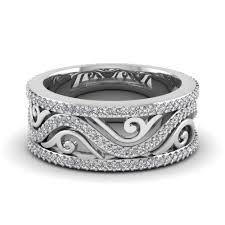 vintage bands rings images Filigree wide diamond wedding band in 14k white gold fascinating jpg