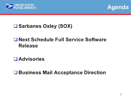 Postalone Help Desk 1 Sarbanes Oxley Sox And Business Mail Acceptance Greater Ny Pcc