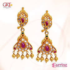 earrings in grt gold ruby earrings from grt south india jewels