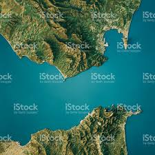 Iberian Peninsula Map Strait Of Gibraltar Topographic Map Natural Color Top View Stock