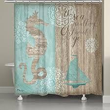 Beachy Shower Curtains Laural Home Bchbw74sc Boardwalk Shower Curtain