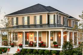 metal porch railing exterior traditional with black shutters