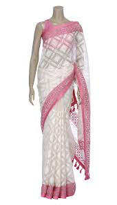 arong saree ivory and pink embroidered and appliqué muslin saree