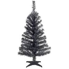 black tinsel tree 3 foot with plastic stand trees