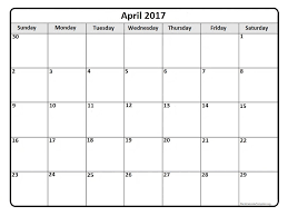 april 2017 monthly calendar template printable calendars