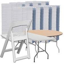resin folding table and chairs 200 slatted seat resin folding chairs and 25 folding tables bundle