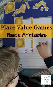 place value games with pasta printables