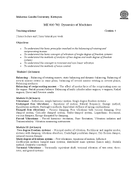 syllabus of dom mechanical engineering classical mechanics