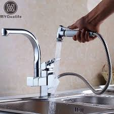 solid brass kitchen faucet factory direct sale modern solid brass pull out spray chrome brass