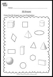 kindergarten math 3d shapes worksheets and activities little