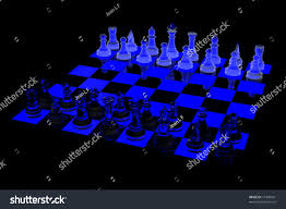 3d glowing chess board blue black stock illustration 10440361