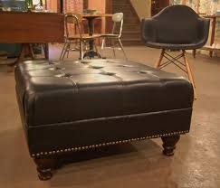 Large Tufted Leather Ottoman Great Martin Tufted Leather Ottoman Pottery Barn Within Coffee