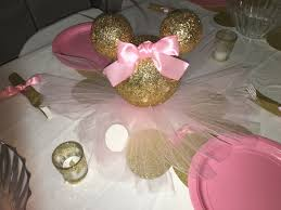 Pink And Gold Baby Shower Decorations by Pink And Gold Minnie Mouse Centerpiece 1st Birthday Pinterest