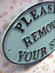 Home Decor Signs Shabby Chic Please Remove Your Shoes Cast Iron Sign Shabby Chic Beach Blue