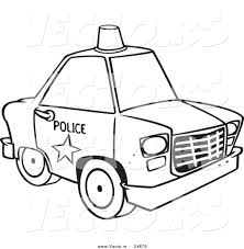 vector of a cartoon police car with a siren cone on the roof