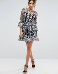 lipsy shoes sale lipsy embroidered skater dress black women