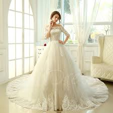wedding dresses for larger cathedral a line lace half sleeves wedding dress tbdress