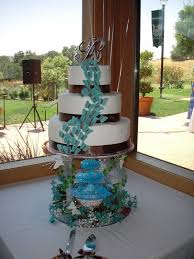 wedding cakes with fountains blue four tier wedding cake with ipunya