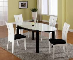 Oval Dining White Glass Top Table With Black Lacquer Legs - Black lacquer dining room set