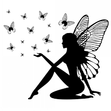 blak ink sitting silhouette and flying butterfly flock