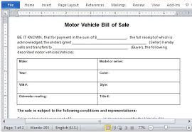 bill of sale template car 10 sle of vehicle bill of sale template manager s club