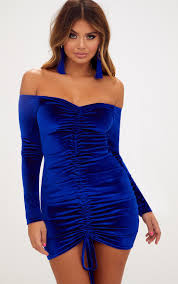 blue bodycon dress blue velvet bardot sleeve ruched bodycon dress